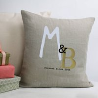 Linen Wedding Cushion With Initials