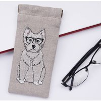 Embroidered Westie Glasses Case