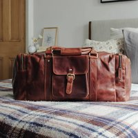 Brown Leather Travel Holdall Bag