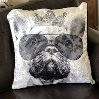 Black And White Filled Crushed Velvet Cushion