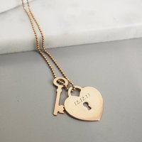 Personalised Heart Lock With Key Pendant, Rose Gold/Rose/Gold