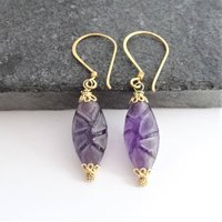 Carved Frosted Amethyst Earrings In Gold Vermeil, Gold