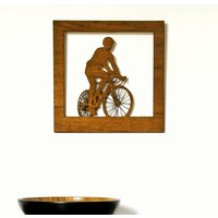 Wood Cut Road Bike Cyclist Artwork