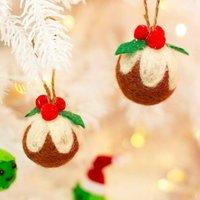 Set Of Two Christmas Pudding Felt Decoration