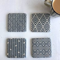 Blue And White Antiqued Tile Coasters