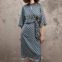 Knot Dress In Jet Fan Print Crepe