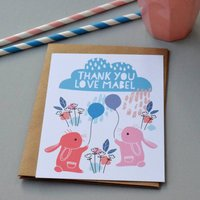 12 Personalised Bunnies With Balloons Thank You Cards