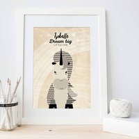 Personalised Kids Bedroom A4 Print Unicorn Design