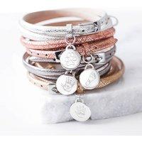 Engraved Hand Or Foot Print Wrap Bracelet, Gold/Rose Gold/Rose