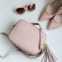 Leather Cross Body Handbag With Tassel, Blush Pink