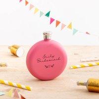 Personalised Bridesmaid Pink Hip Flask Gift