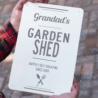 Personalised Metal Garden Shed Sign, Black/Grey/Red