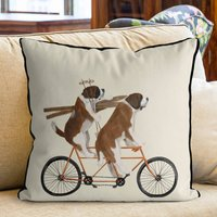 St Bernard On Tandem Decorative Cushion