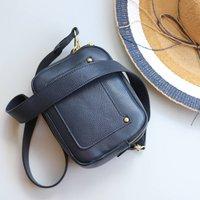 Leather Cross Body Pocket Shoulder Bag, Navy Blue