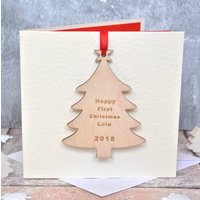 Personalised Tree First Christmas Card