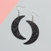 Glitter Moon Earrings