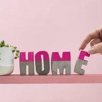 Bright Pink Home Concrete Letter Set