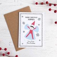 Personalised Elf Christmas Card, Snow Angel