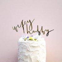 Wifey And Hubby Handwritten Wedding Cake Topper