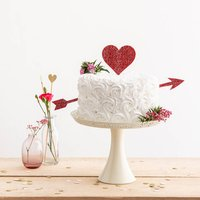 Cupid Heart And Arrow Wedding Party Cake Topper Set