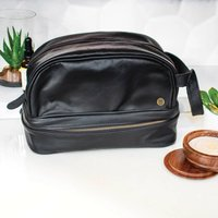 Personalised Large Leather Raleigh Wash Bag Black
