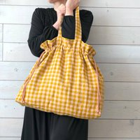 Large Linen Tote Linen Gingham Drawstring Market Bag