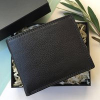 Black Soft Leather Wallet Rfid Protection Gift Boxed