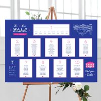 Bold Navy And Pink Wedding Table Plan, Pink