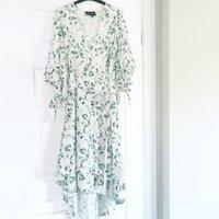 Anna Linen Blend Wrap Dress With Leaf Print