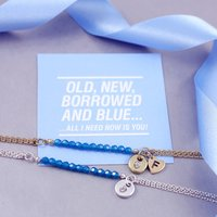 Personalised Bridesmaid Gift Bracelet, Silver/Gold/Blue