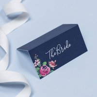 Adela Navy And Pink Floral Wedding Name Place Cards