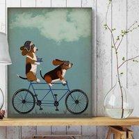 Basset Hound On Tandem Art Print