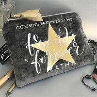 Personalised Grey Velvet Star Quote Makeup Bag