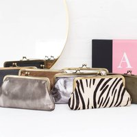 Personalised Leather Metallic Clutch Bag Or Purse A, Silver/Bronze/Olive