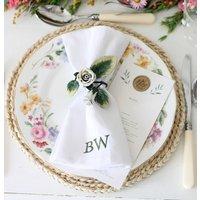 Floral Vintage Napkin Ring With Monogram Linen Napkin