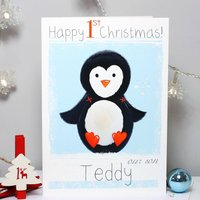 Personalised Penguin Baby 1st Christmas Card, Coral/Blue