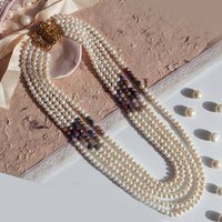 Ruby And Pearl Five Row Long Necklace