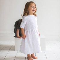 White Linen Girls Dress