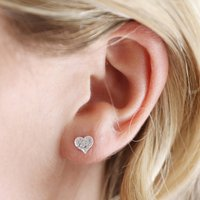 Sterling Silver Small Hammered Heart Stud Earrings, Silver