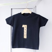 Personalised Kids Age Celebration Number T Shirt, Black/White/Gold
