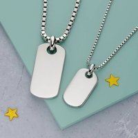 Daddy And Me Sterling Silver ID Necklace Set, Silver