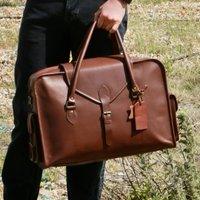 Oxley Personalised Leather Weekend Bag Pecan