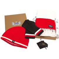 Luxury Cashmere Football Gift Sets In Red And White