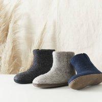Fair Trade Handmade Felt Unisex Slipper Boot Suede Sole