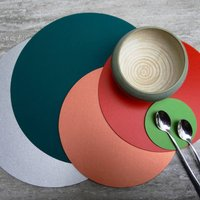 Set Of Four Round Leather Placemats, Grey/Black/Aqua
