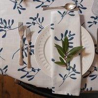 Luxury Designer Christmas Napkin Sets Mistletoe White