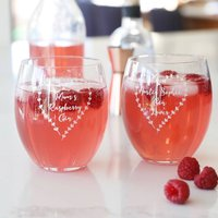 Personalised Floral Heart Garland Glass Tumbler