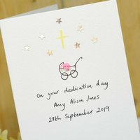Personalised Button Christening Handmade Card
