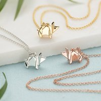 Sterling Silver Origami Pig Necklace, Silver