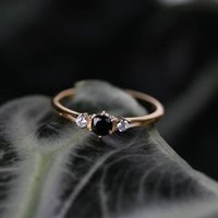 Black Spinel Trilogy Vintage Style Ring Silver Or Gold, Silver